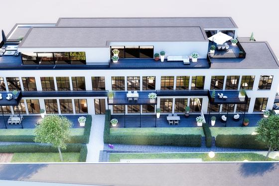 """Renovatieproject """"d'Oude School"""" biedt 10 stijlvolle appartementen en 3 penthouses met panoramisch zicht op de Vlaamse Ardennen."""