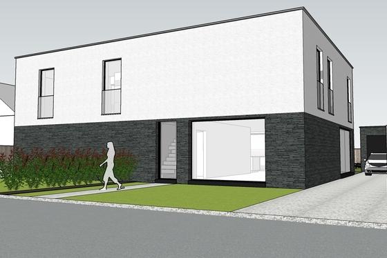 Moderne strakke nieuwbouwwoning op 416m gelegen in de Vlaamse Ardennen.