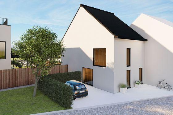 Moderne nieuwbouw halfopen bebouwing op 313m² met 2 staanplaatsen, terras en tuin.